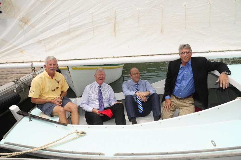 100 year old Tortola Sloop, Intrepid. Pictured Robert Phillips - Chairman of the BVI Spring Regatta, Governor Boyd McCleary - Patron of the Royal BVI Spring Regatta, Sjoerd Koster - Head of Banking, VP Bank (BVI) Limited; Professor Geoffrery Brooks - Curator of the Virgin Islands Maritime Museum Credit: Todd vanSickle