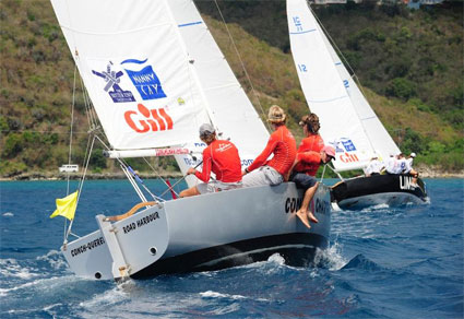 Frits Bus (St Martin, Netherlands Antilles) and crew including Roel Ten Hoopen, compete in the second Gill® BVI Match Racing Championship, part of the BVI Spring Regatta & Sailing Festival